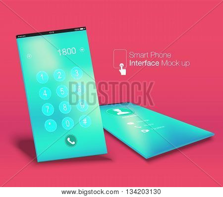 Smartphone Interface Ui Design Mock Up ,phone6 Ratio Screen,yellow Background