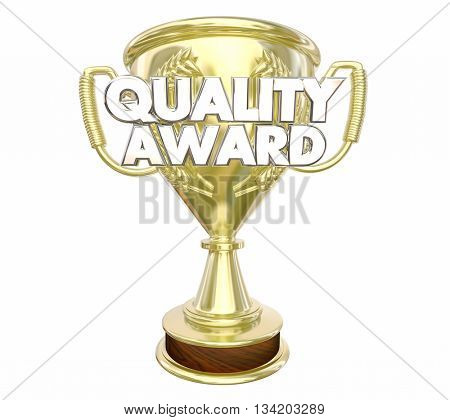 Quality Award Best Top Recommended Trophy Words 3d Illustration