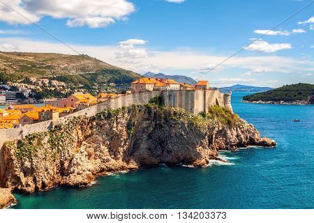 View of Old City Dubrovnik, Croatia - fortress and the Mediterranean Sea