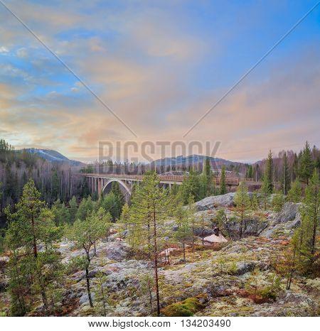 evening forest mountain landscape with railroad bridge