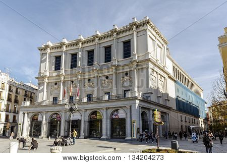 Madrid Spain - November 27 2015: Teatro Real is an opera house located in front of the Palacio Real the official residence of the Queen who ordered the construction of the theatre.