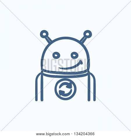 Robot with refresh sign vector sketch icon isolated on background. Hand drawn Robot with refresh sign icon. Robot with refresh sign sketch icon for infographic, website or app.
