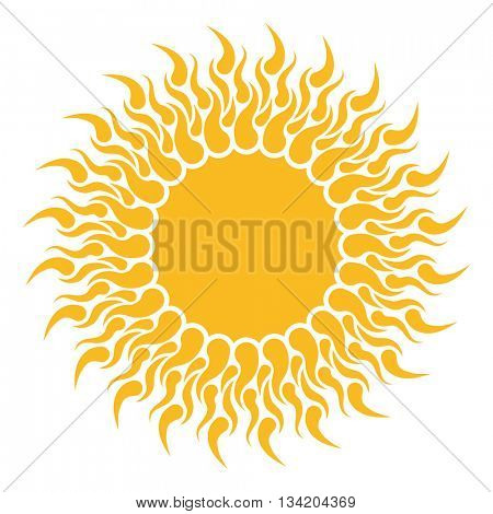 Yellow sun shape isolated on white background. Abstract Flat sun shape with tongues of fire.