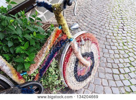 The Candy Wool Bike on a street