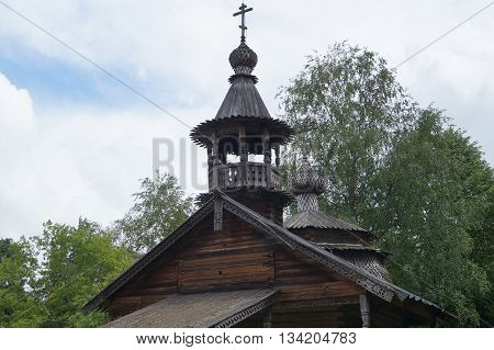 Russian village,Wooden architecture,the Chapel of Kirik and Iulita from the village Kashira Malovishersky district (1745)