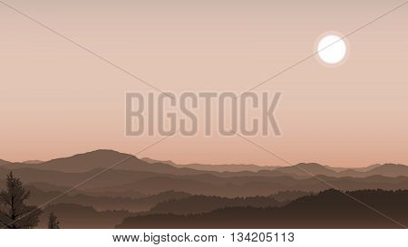 Illustration sunlight over the misty coniferous forest on the hills