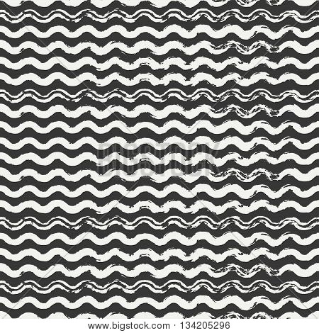 Hand drawn seamless pattern with wavy brush strokes. Wrapping paper. Abstract vector background. Round brush ink strokes. Casual black, white texture. Doodle. Dry brush. Edges ink illustration.
