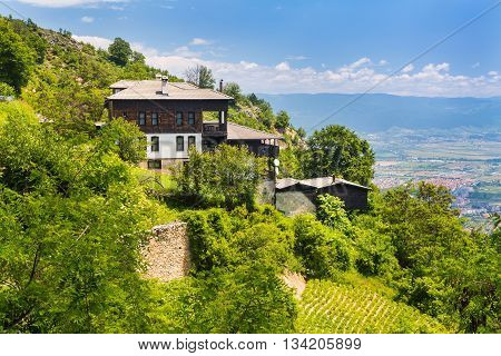 Aerial panorama of houses in high mountain village or selo Delchevo, Bulgaria, Balkans