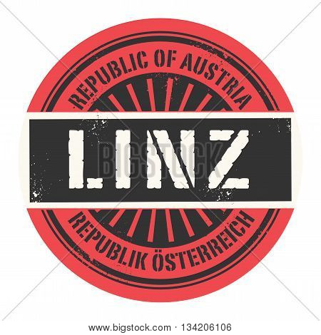 Grunge rubber stamp with the text Republic of Austria, Linz, vector illustration