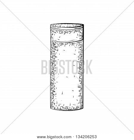 Hand drawn bottle or tube. Container for product for body care and hygiene. Detailed sketch of container isolated on white background. Black and white pencil or ink drawing