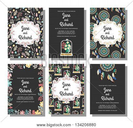 Set of wedding invitations, save the date card templates. Vector illustration on dark background. Flowers, dreamcatchers, pendants