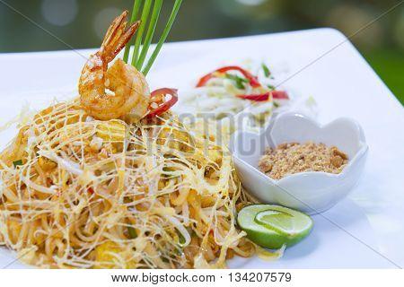 Thai food Pad thai Stir fry noodles in padthai style (selective focus)