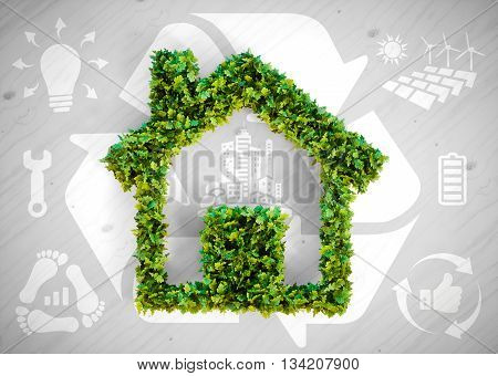 Sustainable living - 3d illustration with ecology icons on grey wooden background.