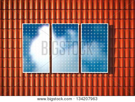 Concept of orange roof with photovoltaic. 3D rendering.
