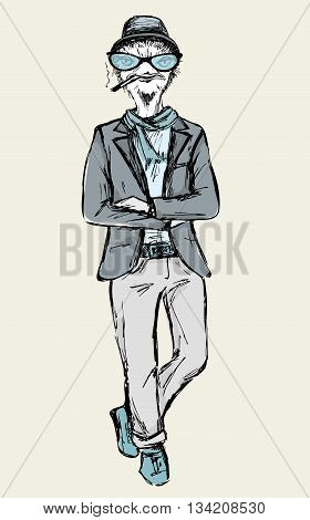 Hand Drawn Fashion Portrait of ostrich Hipster isolated on white background vector