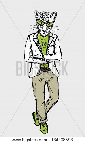 Hand Drawn Fashion Portrait of cheetah Hipster isolated on white background vector