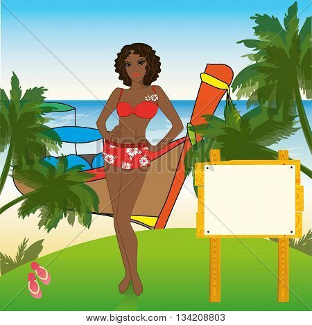 African-American woman standing on the shore of the beach longtail boat on background place for textvector illustration