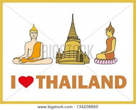 I love Thailand Buddha and stupa vector illustration