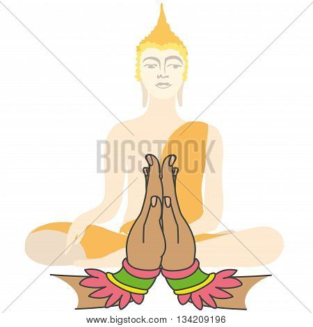 Buddha and Two hands in prayer vector illustration