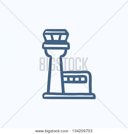 Flight control tower vector sketch icon isolated on background. Hand drawn Flight control tower icon. Flight control tower sketch icon for infographic, website or app.