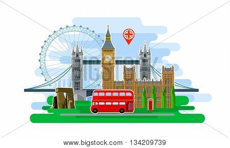 Concept of travel or studying English. English flag with landmarks. Cool trip to England. Time to travel. Tourism in England. Flat design, vector illustration