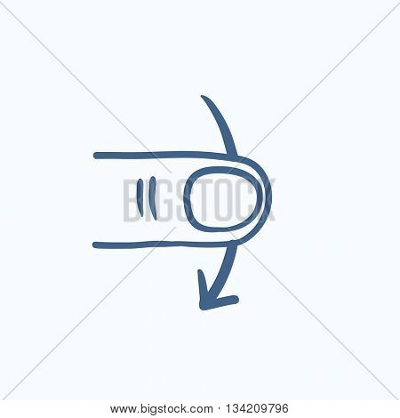 Swipe down touch screen gesture vector sketch icon isolated on background. Hand drawn Swipe touch screen gesture down icon. Swipe touch screen gesture down sketch icon for infographic, website or app.