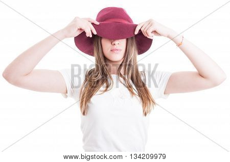 Mysterious Hipster Wearing Casual Outfit And Hat With Large Brim
