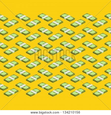 Concept of big money. Big pile of cash. Hundreds of dollars. Money seamless background. Vector isometric illustration.