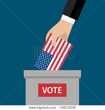 Concept of election. US Presidential election 2016. Hand putting voting paper in the ballot box. Flat design, vector illustration.