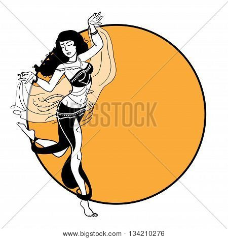 Belly dancer. Illustration of belly dance woman in hand drawn style. Modern girl in costume with accessories. Vector