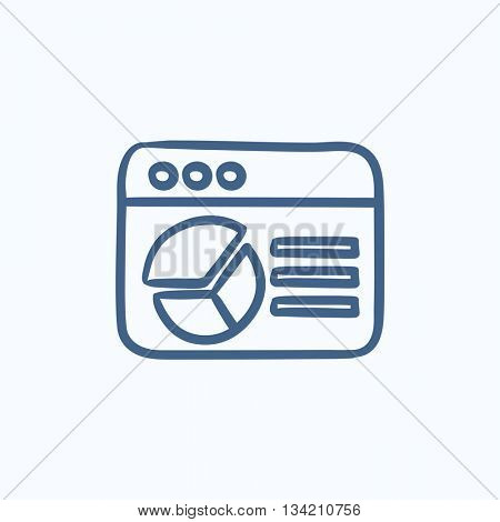Browser window with pie chart vector sketch icon isolated on background. Hand drawn Browser window with pie chart icon. Browser window with pie chart sketch icon for infographic, website or app.