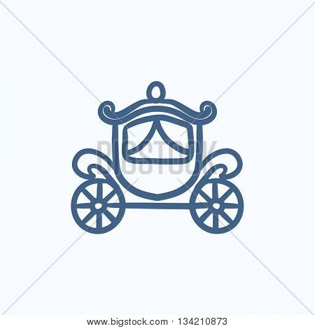 Wedding carriage vector sketch icon isolated on background. Hand drawn Wedding carriage icon. Wedding carriage sketch icon for infographic, website or app.