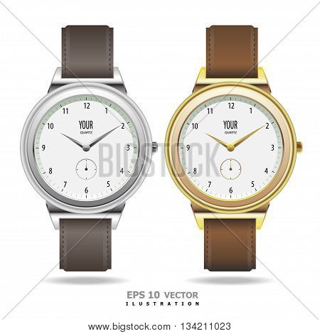 Watch gold and silver isolated vector design illustration.