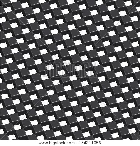 Checkered three dimension black background vector illustration.