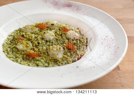 Pumpkin risotto with sun-dried tomatoes and mozzarella