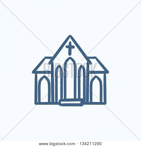 Church vector sketch icon isolated on background. Hand drawn Church icon. Church sketch icon for infographic, website or app.
