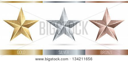 Vector illustration of realistic metallic 3 stars. Metal scratched texture. Decorated set of 3 stars. EPS 10
