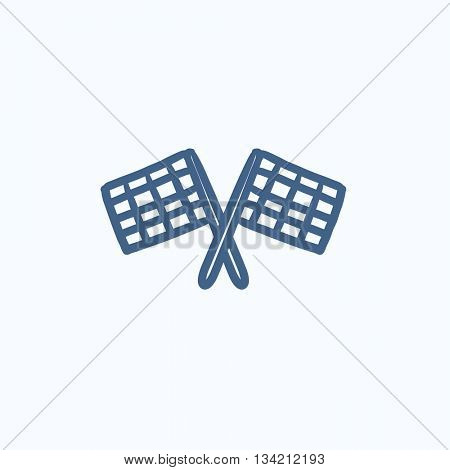 Two checkered flags vector sketch icon isolated on background. Hand drawn Two checkered flags icon. Two checkered flags sketch icon for infographic, website or app.
