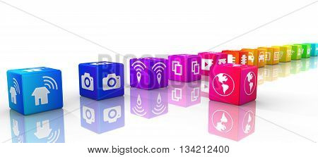 Internet of things icons on rainbow colored cubes in a row IOT 3D illustration