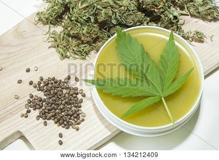 Home made healing ointment made of marijuana