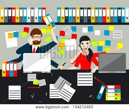 Employees, jobholders making multitasking job in business office. Flat vector.