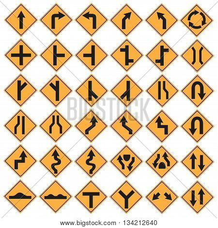 Traffic sign set collection isolated vector illustration.