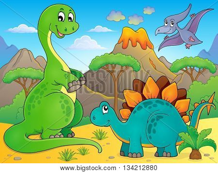 Image with dinosaur thematics 6 - eps10 vector illustration.