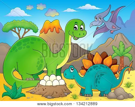 Image with dinosaur thematics 5 - eps10 vector illustration.