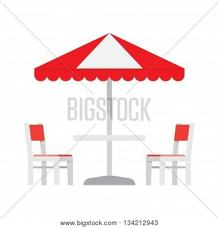 Cafe table and chairs under an sunshade. Umbrella and furniture isolated on white background. Vector illustration