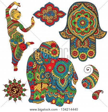 A set of Indian symbols for design. Sign Ohm, dancer, elephants, Hamsa, paisley painted in mihendi style.