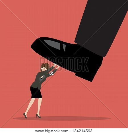 Business woman pushing big foot. Business concept