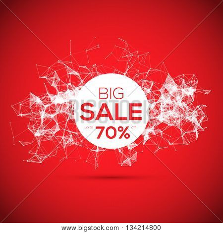 Sale poligonal geometric banner on red background. Sale background. Big sale. Sale tag. Sale poster. Sale vector. Geometric design. Super Sale and special offer. 70 off.