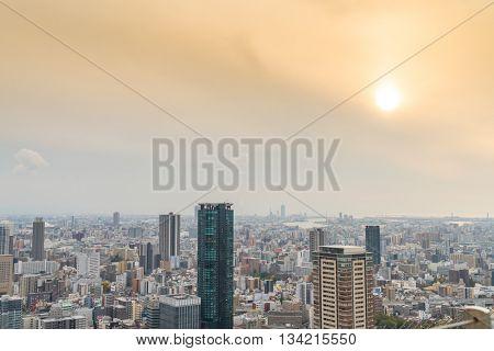 OSAKA, JAPAN - November  30, 2015 : Osaka city view from Umeda sky building, Osaka. View from the top.