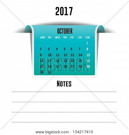 Vector calendar October 2017 with a place for notes. Weeks start on Monday
